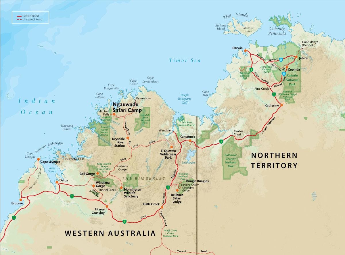 Map of the Kimberley region